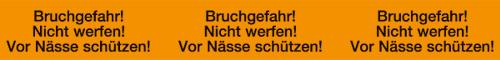 """PVC-Verpackungsklebeband """"Bruchgefahr"""" leuchtorange, schwarz, 1 Satz = 6 Rollen"""