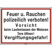 Hinweisschild Text: Feuer u. Rauchen polizeilich verboten! Vorsicht beim Laufenlassen ...etc. 350 mm | 250 mm | Aluminium eloxiert | Nein | Stück | Standard | Standard