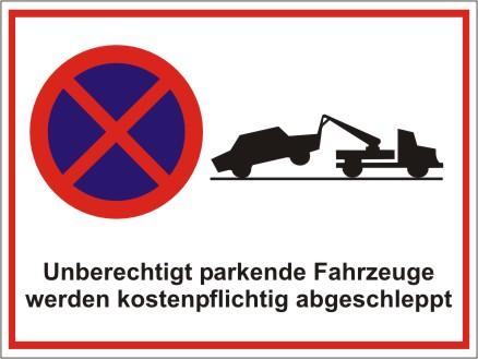 Kombiparkplatzschild mit Text und Symbolen