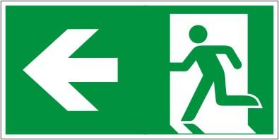 Rettungswegschild als Kombiversion zum Hinweis auf Laufrichtung nach links gehen