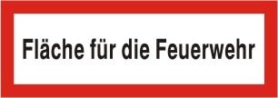 """Brandschutzschild als Text """"Fläche für die Feuerwehr"""", Kunststoff 1 mm, 297 x 105 mm"""