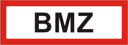 Schild mit Text BMZ, 2-farbiger Siebdruck 297x105 | Folie | - | ja | -