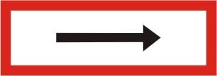 Brandschutzschild mit Zusatzpfeil