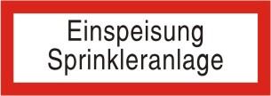 """Brandschutzschild als Text """"Einspeisung Sprinkleranlage"""""""