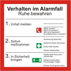 Brandschutzschild Sicherheitsaushang Verhalten im Alarmfall