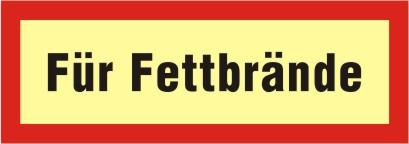 """Brandschutzschild als Text """"Für Fettbrände"""", KNS, DIN 67510"""
