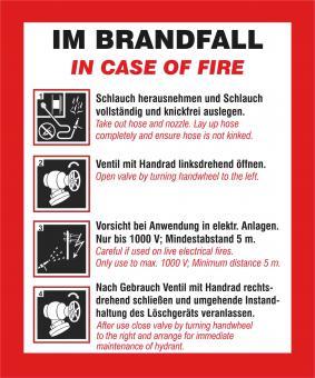 """Schild mit Text und Symbolen """"Handhabungsfolie Wandhydrant  2 sprachig/deutsch,englisch"""", angepasst an neue DIN14461 (gültig ab 01.10.2016).  Material: Folie selbstklebend"""