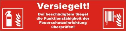 Siegelaufkleber VERSIEGELT... mit Symbol ISO 7010 Feuerlöscher (F001) u. Wandhydrant (F002)