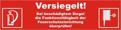 Siegelaufkleber VERSIEGELT... mit Symbol BGV A 8 Feuerlöscher (F05) u. Wandhydrant (F03)