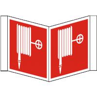 Nasenschild bedruckt mit 2 Symbolen Löschschlauch nach BGV A8/F 03