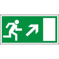 Rettungsschild als Symbol Rettungsweg rechts aufwärts nach BGV A8