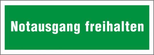 """Rettungsschild mit Text """"Notausgang freihalten"""""""
