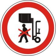 Verbotsschild als Symbol nicht unter angehobene Last treten