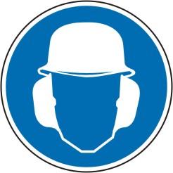 Gebotsschild als Symbol Gehör- und Kopfschutz benutzen