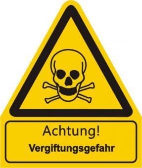 """Warnkombischild mit Symbol und Text  nach  BGV A 8  """"Text: Achtung! Vergiftungsgefahr"""