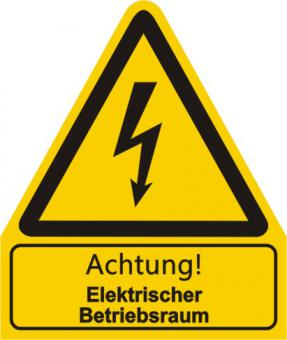 """Warnkombischild mit Symbol und Text  nach  BGV A 8 """"Text: Achtung! Hochspannung Lebensgefahr"""