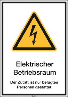 Kombischild ASR A1.3 [W012]/BGV A8 [W08] Elektrischer Betriebsraum Der Zutritt...etc.