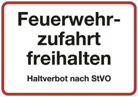 """DIN 4066 Textschild """"Feuerwehrzufahrt freihalten Haltverbot nach StVO"""""""