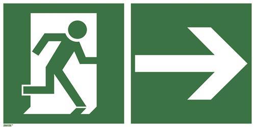 BGV A8 / alte ASR A1.3 [E13] Rettungsweg rechts 300mm | 150mm | Acryl | Rettungsweg rechts | Ja
