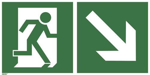 Rettungsweg schräg rechts unten (Kombischild)