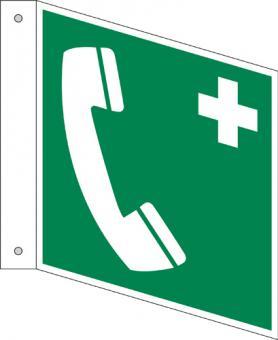 ISO 7010/E004 Notruftelefon,Fahnenschild