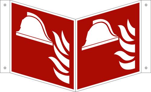 ISO 7010/F004 Mittel und Geräte zur Brandbekämpfung als Nasenschild