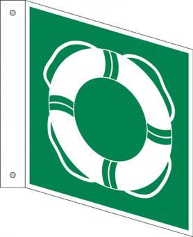 Öffentliche Rettungsausrüstung als Fahnenschild