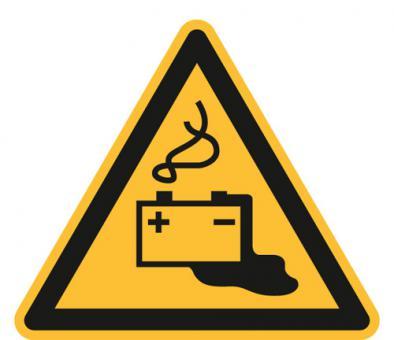 ASR A1.3/ISO 7010 [W026]/BGV A8 [W20] Warnung vor Gefahren durch Batterien