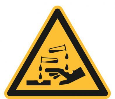 ASR A1.3/ISO 7010 [W023] Warnung vor ätzenden Stoffen