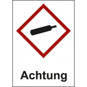 GHS 04 Gasflasche Text: Achtung