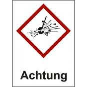 Kombischild -  Explodierende Bombe - GHS 01 / Text: Achtung