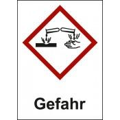 GHS 05 Ätzwirkung Text: Gefahr