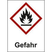 GHS 02 Flamme Text: Gefahr