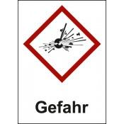 GHS 01 Explodierende Bombe Text: Gefahr