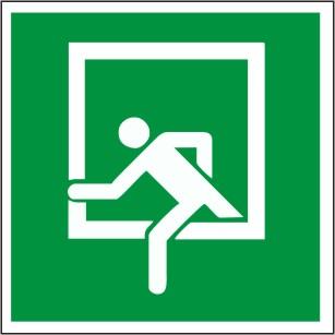 """Rettungszeichen mit Symbol """"Rettungsfenster nach DIN 4844-2 / ASR A1.3  D-E019"""""""