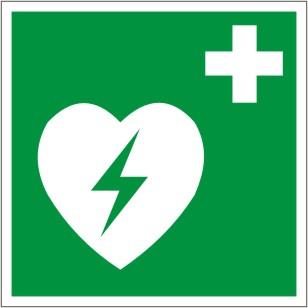 Rettungsschild als Symbol Defibrillator