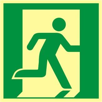 Rettungswegschild Symbol Rettungsweg rechts nach  ISO 7010 / E 002