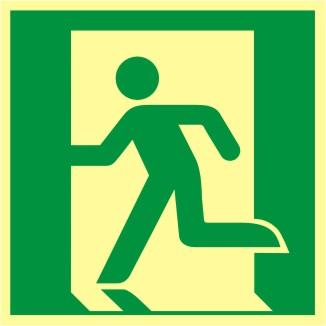 """Rettungszeichen Symbol """"BGV A 8 E 9, Rettungsweg/Notausgang links"""