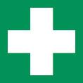 Rettungsschild als Symbol Erste Hilfe nach BGV A8