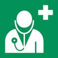 Rettungsschild als Symbol Arzt nach ISO 7010