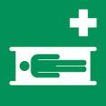 Rettungsschild als Symbol Krankentrage nach ISO 7010