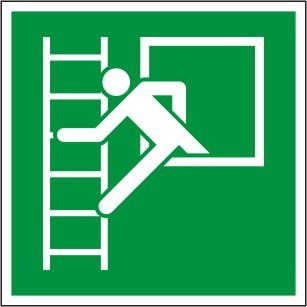 """Symbol nach ISO 7010 """"E 016 Notfenster mit Fluchtleiter"""