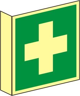 Fahnenrettungsschild als Symbol Erste Hilfe nach BGV A 8