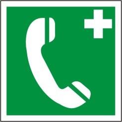 Rettungsschild als Symbol Notruftelefon nach BGV A 8