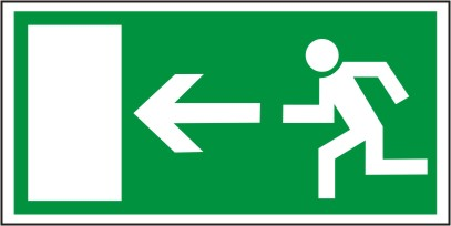 Rettungsschild als Symbol Rettungsweg links nach BGV A8