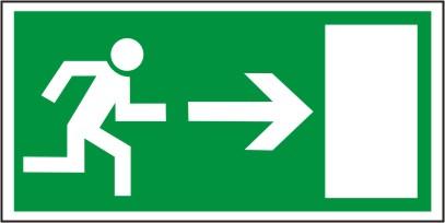 Rettungsschild als Symbol Rettungsweg rechts nach  BGV A8