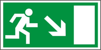 Rettungsschild als Symbol Rettungsweg rechts abwärts nach  BGV A8
