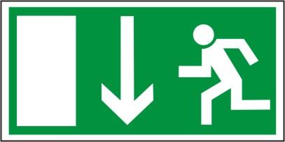 Rettungsschild als Symbol Rettungsweg durch Notausgang nach BGV A8 E16