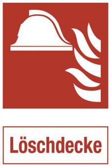 ASR A1.3/ISO 7010 [F004] - Brandschutz mit Zusatztext: Löschdecke