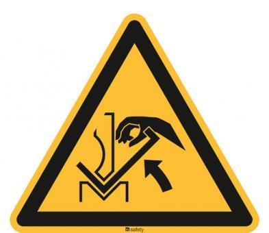ISO 7010 [W031] Warnung v. Quetschgefahr der Hand zwíschen Presse und Werkstück